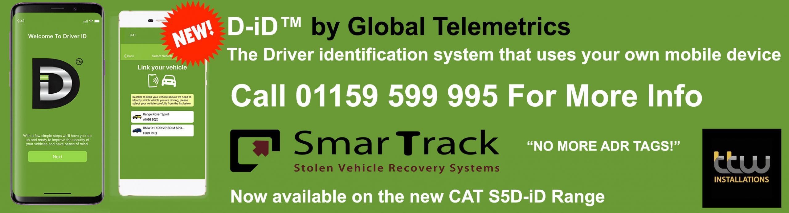 New D-iD™ From Smartrack on the CAT S5 Range.